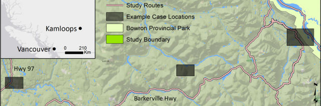 Study Area with harvest areas highlighted in gray